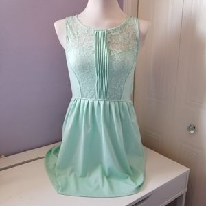Mint green dress with lace detailing